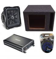 "Kicker Subwoofer Package S15L7 Sub, CX1200.1, 15"" Enclosure & 4 Gauge Amp Kit"