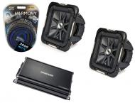 "Kicker Car Stereo 12"" Sub Package S12L7 Dual 2 Ohm Subwoofer Pair, CX1200.1 Amp & Instal..."