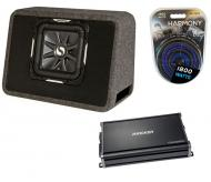 "Kicker Car Stereo Single L7 10"" TS10L7 Loaded Truck Sub Box, CX1200.1 Amplifier & Amp In..."