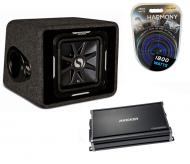 "Kicker Car Stereo Single L7 12"" VS12L7 Loaded Vented Sub Box, CX1200.1 Amplifier & Amp I..."