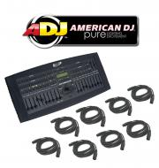 American DJ Lighting DMX Operator 136CH Hybrid Chase Console Controller with (8) DMX Cables Package