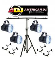American DJ Lighting (4) Snap Shot LED Variable Speed Strobe Flashing Light with (4) Truss Clamps...