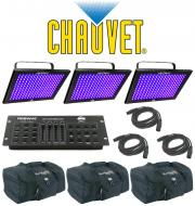 Chauvet DJ Lighting (3) TFX-UVLED LED Shadow Blacklight UV Panel Light with (3) DMX Cables & ...