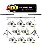 American DJ Lighting (8) 46 COMBO Par Can Polished Stage Lights with Portable Truss System Package