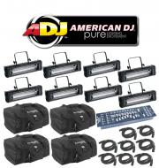 American DJ Lighting (8) Mega Flash DMX Party 800W Stobe Effect Light with (8) DMX Cables, (4) Ar...