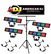 American DJ (4) Color Burst LED Multi Color LED Chase Wash Light with (4) C Clamps & Multi Ar...