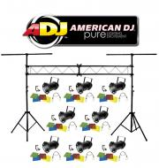 American DJ Lighting (8) 46 BLACK COMBO Par Can Stage Lights with Portable Truss System Package