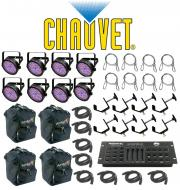 Chauvet DJ Lighting (8) Slim Par 56 Can Stage Wash LED Light with (8) DMX Cables, (8) Safety Cabl...