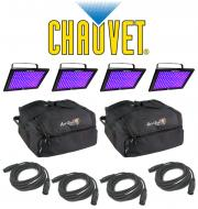 Chauvet DJ Lighting (4) TFX-UVLED LED Shadow Blacklight UV Panel Light with (4) DMX Cables & ...