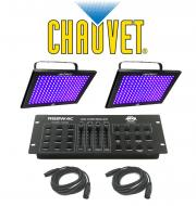 Chauvet DJ Lighting (2) TFX-UVLED LED Shadow Blacklight UV Panel Light with (2) DMX Cables & ...