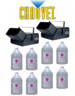 Chauvet Lighting DJ (2) B-550 Bubble King Machines with (8) Gallon Bubble Fluid Juice Package