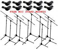 (10) Pro Audio DJ Tripod Adjustable Height Boom Mic Microphone Stands & (10) Free Mic Mounts
