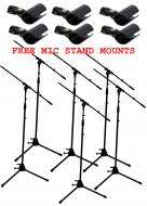 (6) Pro Audio DJ Tripod Adjustable Height Boom Mic Microphone Stands & (6) Free Mic Mounts
