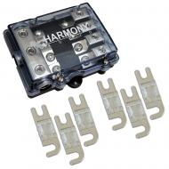 Harmony HA-MIDIFD4 Mini ANL MIDI 4-Way Fused Distribution Block & 80 Amp Fuses
