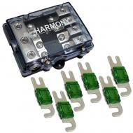 Harmony HA-MIDIFD4 Mini ANL MIDI 4-Way Fused Distribution Block & 100 Amp Fuses