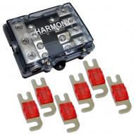 Harmony HA-MIDIFD4 Mini ANL MIDI 4-Way Fused Distribution Block & 125 Amp Fuses