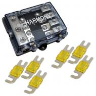 Harmony HA-MIDIFD4 Mini ANL MIDI 4-Way Fused Distribution Block & 150 Amp Fuses