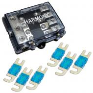 Harmony HA-MIDIFD4 Mini ANL MIDI 4-Way Fused Distribution Block & 175 Amp Fuses