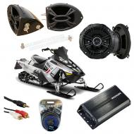 "Polaris Snowmobile Kicker DSC50 & PXA300.4 Amp Custom 5 1/4"" Speaker Pod System"