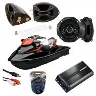 "Sea-Doo PWC Marine Kicker DSC50 & PXA300.4 Amp Custom 5 1/4"" Black Speaker Pods System"