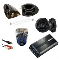 "Kicker DSC50 & PXA300.4 Amp Custom Powersport 5 1/4"" Black Speaker Pod System"