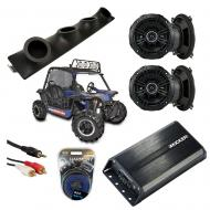 "Heathen V Twin Powered Kicker DSC50 & PXA300.4 Amp Quad (4) 5 1/4"" Speaker UTV Pod System"