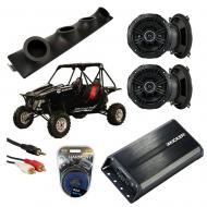 "Redline Riot Powered Kicker DSC50 & PXA300.4 Amp Quad (4) 5 1/4"" Speaker UTV Pod System"