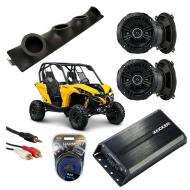 "Can-Am Maverick Powered Kicker DSC50 & PXA300.4 Amp Quad (4) 5 1/4"" Speaker UTV Pod System"