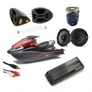 "Kawasaki Jet Ski PWC Marine Kicker KSC50 & 4-Channel Amp Custom 5 1/4"" Black Speaker Pod..."