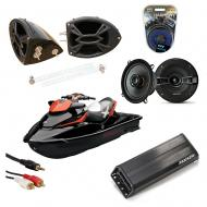 "Sea-Doo PWC Marine Kicker KSC50 & PXA300.4 Amp Custom 5 1/4"" Black Speaker Pods System"