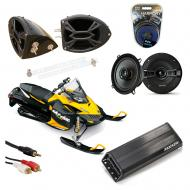 "Ski-Doo Snowmobile Kicker KSC50 & PXA300.4 Amp Custom 5 1/4"" Speaker Pod System"