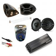 "Kicker KSC50 & PXA300.4 Amp Custom Powersport 5 1/4"" Black Speaker Pod System"