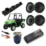 "Artic Cat Prowler Powered Kicker KSC50 & PXA300.4 Amp Quad (4) 5 1/4"" Speaker UTV Pod Sy..."