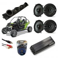 "Artic Cat Wildcat Powered Kicker KSC50 & PXA300.4 Amp Quad (4) 5 1/4"" Speaker UTV Pod Sy..."