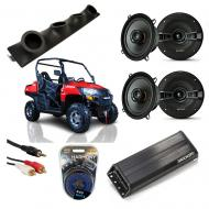 "Bennche Spire Powered Kicker KSC50 & PXA300.4 Amp Quad (4) 5 1/4"" Speaker UTV Pod System"