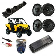 "Can-Am Commander Powered Kicker KSC50 & PXA300.4 Amp Quad (4) 5 1/4"" Speaker UTV Pod System"
