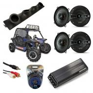 "Heathen V Twin Powered Kicker KSC50 & PXA300.4 Amp Quad (4) 5 1/4"" Speaker UTV Pod System"