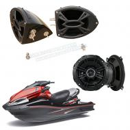 "Kawasaki Jet Ski PWC Marine Kicker System DS525 Custom 5 1/4"" Gloss Black Speaker Pods Pair"