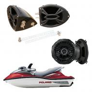"Polaris PWC Marine Kicker System DS525 Custom 5 1/4"" Gloss Black Speaker Pods Pair"