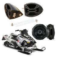 "Polaris Snowmobile Kicker System DS525 Custom 5 1/4"" Gloss Black Speaker Pods Pair"