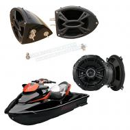 "Sea-Doo PWC Marine Kicker System DS525 Custom 5 1/4"" Gloss Black Speaker Pods Pair"