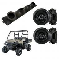 "Polaris Ranger Kicker System DSC50 Custom Quad (4) 5 1/4"" Speakers Power Sports UTV Pod"