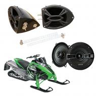 "Artic Cat Snowmobile Kicker System KSC50 Custom 5 1/4"" Gloss Black Speaker Pods Pair"