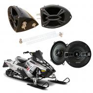 "Polaris Snowmobile Kicker System KSC50 Custom 5 1/4"" Gloss Black Speaker Pods Pair"
