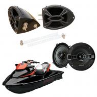 "Sea-Doo PWC Marine Kicker System KSC50 Custom 5 1/4"" Gloss Black Speaker Pods Pair"