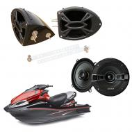 "Kawasaki Jet Ski PWC Marine Kicker System KSC50 Custom 5 1/4"" Gloss Black Speaker Pods Pair"