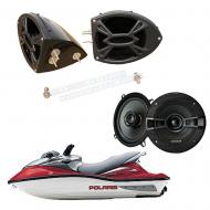 "Polaris PWC Marine Kicker System KSC50 Custom 5 1/4"" Gloss Black Speaker Pods Pair"