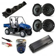 "Yamaha Rhino Powered Kicker KSC50 & PXA300.4 Amp Quad (4) 5 1/4"" Speaker UTV Pod System"