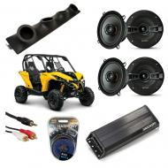 "Can-Am Maverick Powered Kicker KSC50 & PXA300.4 Amp Quad (4) 5 1/4"" Speaker UTV Pod System"
