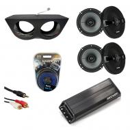 "Kicker KSC65 & PXA300.4 Amp Marine Audio Boat Tower Quad 4 Way 6 1/2"" Speakers System"